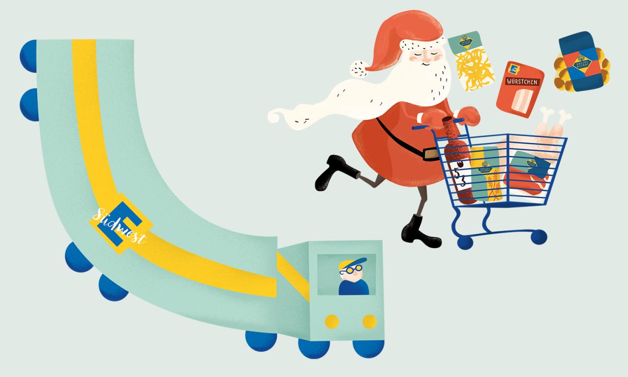 studiododo Kresse und Discher – EDEKA Weihnachtsgrafik